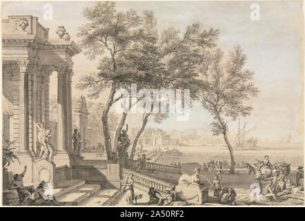 Fantastic Harbor Scene with Architecture and Figures, 1713. - Stock Photo