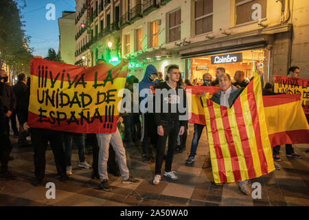 Hundreds of people gathered in Puerta del Sol in Madrid on Wednesday (October 16) in support of Catalan independence.  The gathering was later disrupt - Stock Photo