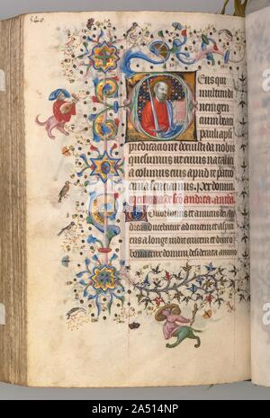 Hours of Charles the Noble, King of Navarre (1361-1425): fol. 264v, St. Paul, c. 1405. This precious volume was obviously highly prized by its owner, the French-born King of Navarre, who had his coat of arms painted on no less than twenty folios. Rather than directly commissioning this manuscript from a specific workshop, it seems that Charles the Noble acquired his book of hours -- perhaps ready-made for the luxury market -- while on a trip to Paris in 1404-05. A collaborative effort, six painting styles are evidenced within the pages of this codex, those of two Italians, two Frenchmen, and t - Stock Photo