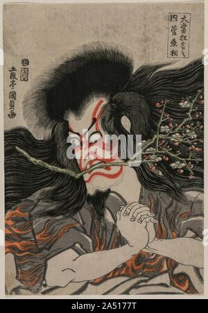 """Ichikawa Danjuro VII as Kan Shojo in the Mt. Tenpai Scene (from the series Famous Kabuki Plays), 1814. Here, the actor plays the role of an exiled statesman, transforming himself into a vengeful thunder god. The red-and-white make-up style— kumadori , or """"shadow painting""""—is characteristic of the  aragoto  manner of portraying heroic roles. The crossed eyes and clenched mouth—in this role a plum blossom branch is added—demonstrates the conventional  mie  pose used by Kabuki actors to express intense emotion at the most dramatic moment in the play. The audi - Stock Photo"""
