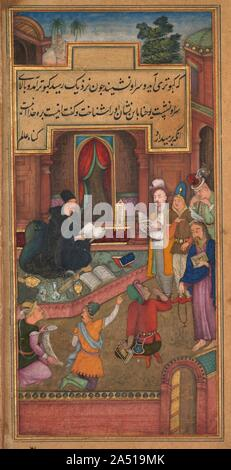 John the Baptist recognizes Christ by the appearance of a dove, from a Mirror of Holiness (Mir'at al-quds) of Father Jerome Xavier, 1602-1604. This scene of John the Baptist's recognition of Jesus is set in a lavishly decorated Mughal courtyard. The artist has closely followed Father Jerome's text, which tells of the Holy Spirit taking the form of a dove that sits atop Jesus's head, rather than the text of the Gospels, which describes the dove as hovering in the air. John wears the black robes of a Jesuit, garb that in the context of the Mughal court identifies him