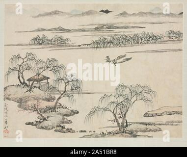 Landscape Album in Various Styles: The Stream of Wuling, 1684. - Stock Photo