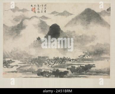 Landscape Album in Various Styles: Landscape after Mi Fei, 1684. - Stock Photo