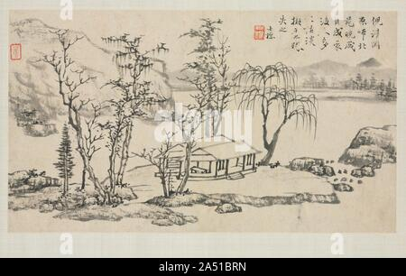 Landscape Album in Various Styles: Landscape after Ni Zan, 1684. - Stock Photo