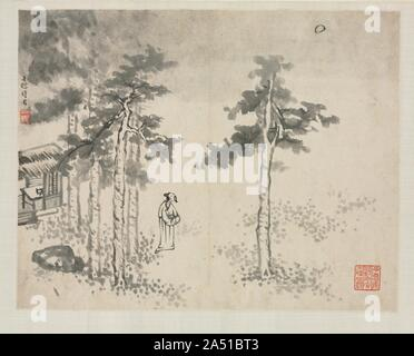 Landscape Album in Various Styles: Shibiao Waiting for the Moon, 1684. - Stock Photo