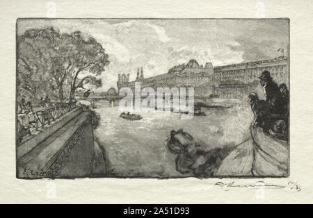 Le Louvre, vu du Pont Neuf, 1890. - Stock Photo