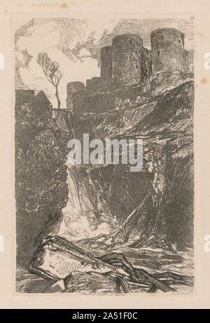 Liber Studiorum: Plate 29, Harlech Castle, N. Wales, 1838. - Stock Photo