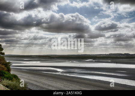 View across the Somme Estuary from Le Crotoy towards St Valery sur Somme - Stock Photo