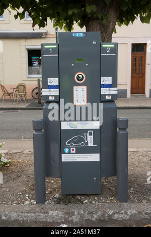 France, Electric Car recharge point, Licques, Pas de Calais - Stock Photo