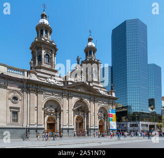 The Metropolitan Cathedral, Plaza de Armas, Santiago Centro, Santiago, Chile, South America - Stock Photo