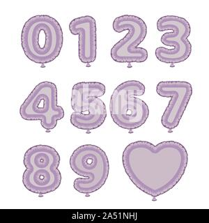 Set of vector foil balloons. Numbers from one to ten - Stock Photo