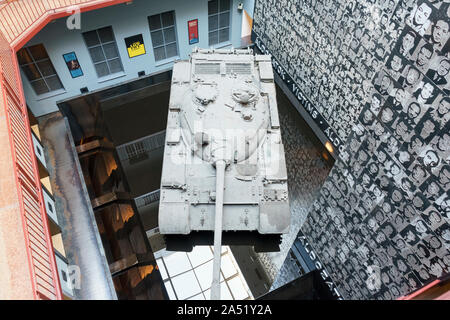 Budapest, Hungary - Oct 15, 2019: A T-54 tank exhibited in The House of Terror Museum, Budapest , Hungary - Stock Photo