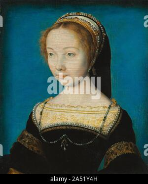 Portrait of a Woman, c. 1540. Corneille de Lyon worked both for the French court and wealthy merchants. His distinctive northern style stood in contrast to the taste for Italian Renaissance painting (seen in the nearby portrait) and connected closely to portrait miniatures and manuscript painting. Recent conservation treatment has restored the smooth, enamel-like background and the meticulous rendering of detail. - Stock Photo