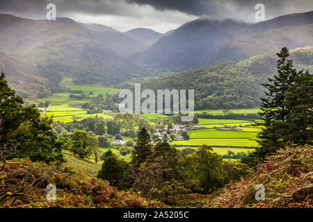 Borrowdale and the village of Rosthwaite in the Lake District National Park, Cumbria. - Stock Photo