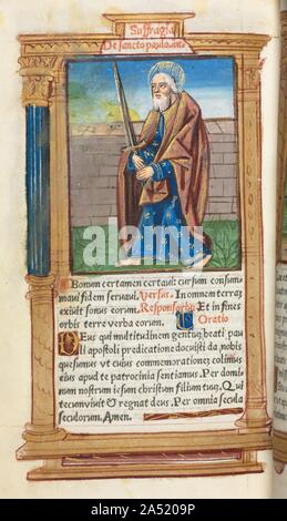 Printed Book of Hours (Use of Rome): fol. 99v, St. Paul, 1510. - Stock Photo