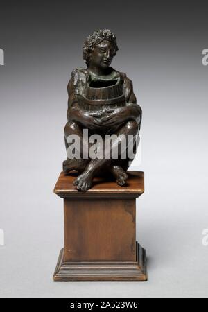 Seated Boy Clothed with Goat Skins Holding an Open Barrel, c. 1525. - Stock Photo