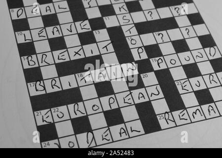 Partly Filled Brexit Crossword Puzzle - Stock Photo