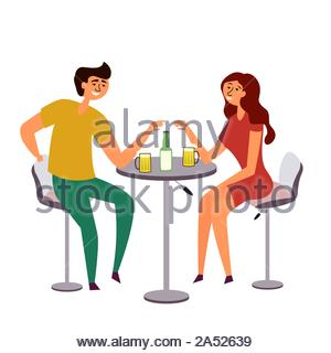 A girl and a guy drinking beer. A couple gathered at a common table drinking and having fun. Romantic date at the bar. Bar table and chairs. Alcoholic - Stock Photo