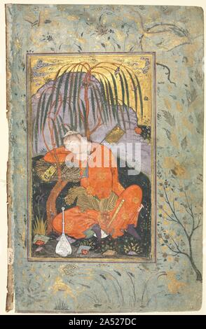 Sleeping Youth (verso), Illustration from a Single Page Manuscript, early 1600s. In the late 1500s, a new artistic aesthetic developed under the socially and economically conscious Shah 'Abbas I (reigned 1587-1629), who established Isfahan as the grand capital of Iran, improving its infrastructure and foreign trade with Europe, especially for the export of raw silk. Made for patrons in the marketplace, landscape paintings began to feature isolated figures in pastoral and daily life settings on single pages, replacing the idealized court paintings made for shahs. Here, the sleeping youth - Stock Photo