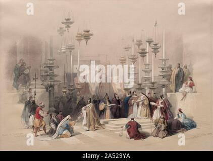Stone of Unction, Holy Sepulchre, 1839. - Stock Photo