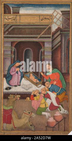 The Adoration of the Magi, from a Mirror of Holiness (Mir'at al-quds) of Father Jerome Xavier, 1602-1604. In this Nativity scene, familiar in Christian contexts, Mary and Joseph present the infant Jesus to the three Magi, who have placed their crowns on the ground in homage to the King of Kings. The three Magi are portrayed in Portuguese costumes to indicate to a Mughal audience that they are foreigners who believed in Christ. The artist cleverly and humorously indicates that the Magi have just arrived in Bethlehem by depicting their three camels in the bottom corner. One exhausted came
