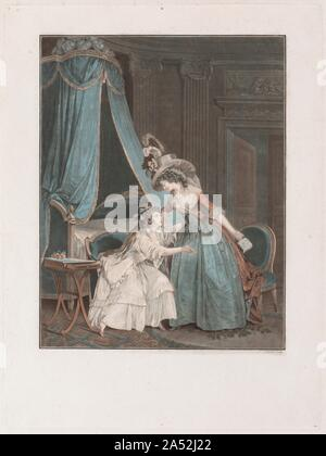 The Indiscretion, 1788.  The Indiscretion  is from a suite of three scenes of women sharing secrets in the privacy of their boudoirs. The woman wearing a decadent hat has taken a love letter from the girl in white, who pleads with her older companion to give it back. Janinet refined the tools used in chalk-manner printmaking to create wash-manner etchings and engravings that imitate opaque watercolours, such as  The Lover's Visit  and  The Surprised Lovers  on view nearby. - Stock Photo