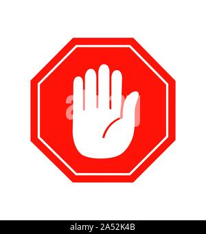 Hand stop icon vector sign symbol vector on white - Stock Photo