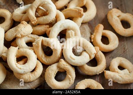 Taralli Traditional Italian snack from Puglia close up - Stock Photo