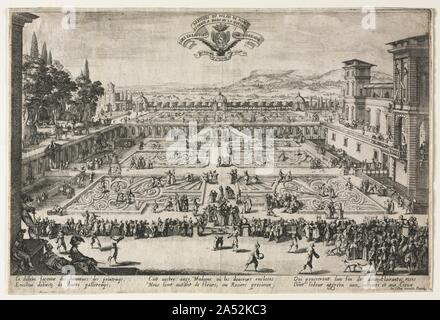 The Palace Gardens at Nancy, 1625. Jacques Callot (French, 1592-1635) The Palace Gardens at Nancy, 1625 Etching Elisabeth Severance Prentiss Collection by exchange 65.232 Callot's etching shows the appearance of the garden at the ducal palace at Nancy in 1625. Female figures carrying baskets on their heads are pictured so that Bellange's etchings of gardeners balancing ornate, fanciful containers must have been based on reality. - Stock Photo