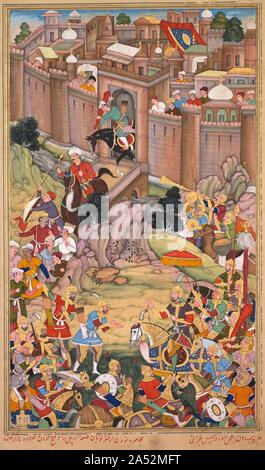 The siege of Arbela in the era of Hulagu Khan, from a Chingiz-nama (Book of Chingiz Khan) of the Jami al-tavarikh (Compendium of Chronicles) of Rashid al-Din (Persian,1247-1318), c. 1596. Akbar, the third Mughal emperor of India, commissioned an illustrated copy of the Chingiz-nama, a historical text written in Persian during the early 1300s by a Jewish scholar who converted to Islam. The Chingiz-nama is an account of the conquests of Akbar's ancestors, the Mongols, who swept across the Asian continent from Siberia to the Mediterranean Sea during the 1200s. This page describes the final - Stock Photo