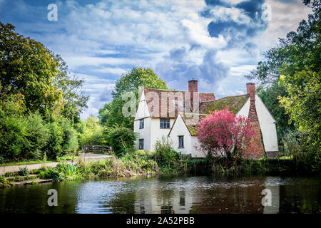 Willy Lott's cottage at Flatford Mill Suffolk UK venue for John Constables famous 'Hay wain' painting. - Stock Photo