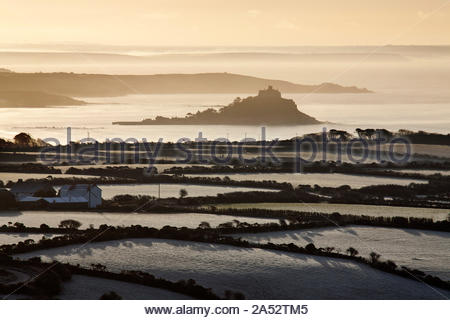 St Michael's Mount from Trencrom Hill, Cornwall, England - Stock Photo