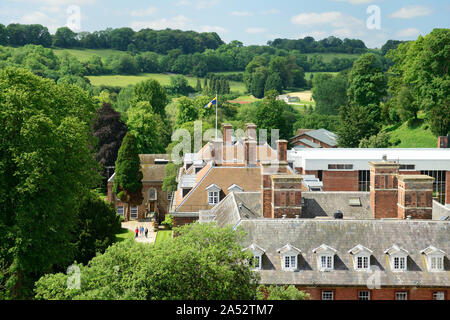 Part of Marlborough College, seen from the tower of St Peter's church. - Stock Photo