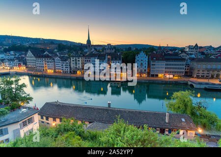 Sunrise over Limmat River seen from Lindenhof Hill, Zurich, Switzerland - Stock Photo