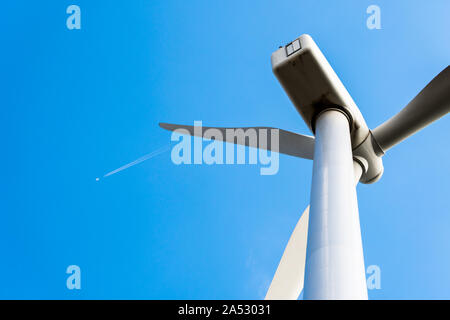 Windmills for the production of electrical energy. Wind farm of renewable, alternative and sustainable energy in Alta Anoia, Barcelona