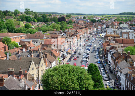 Rooftop view across the market town of Marlborough, Wiltshire, looking along the High Street from the tower of St Peter's church. - Stock Photo