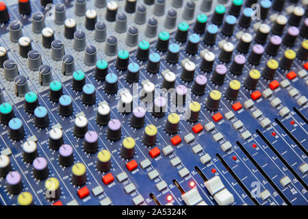 Picture of Musical amplifier Sound amplifier or Music mixer with Knobs, Jack holes and Mic connectors . The part of Musical amplifier Sound amplifier - Stock Photo