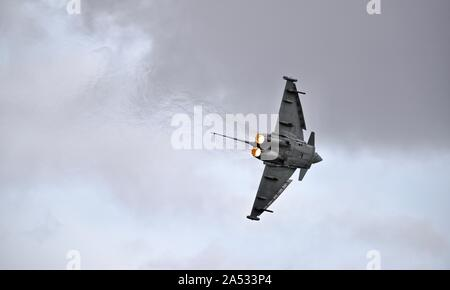Italian Air Force F-2000A Typhoon fighter jet performing at the 2019 Royal International Air Tattoo - Stock Photo