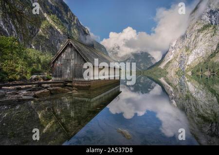 Obersee, Schoenau, Berchtesgaden, Bavaria, Germany, Europe - Stock Photo