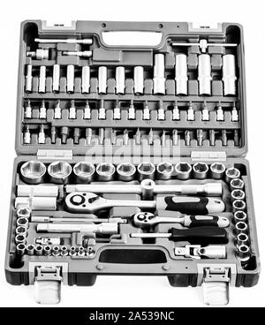 perfect tool kit. chrome plating socket wrench or spanner in compact case. pro set of tools. Torx tool Socket Drive Sockets Set. Ratchet Driver Kits. Chrome Vanadium Steel. multi-purpose. - Stock Photo