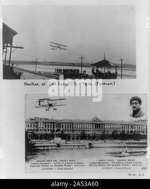 Two scenes of Louis Paulhan flying Farman biplane - over Salt lake City fairgrounds, 1910 - Stock Photo