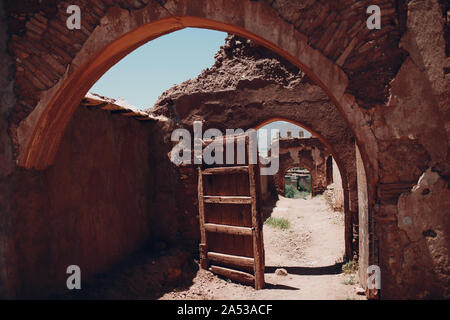 Old city walls and gates in Morocco - Stock Photo