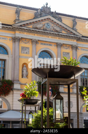 The town hall of Lugano in Piazza Riforma - Stock Photo
