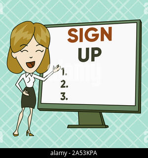 Text sign showing Sign Up. Business photo text use your information to register in website team college or blog White Female in Standing Pointing Blan - Stock Photo