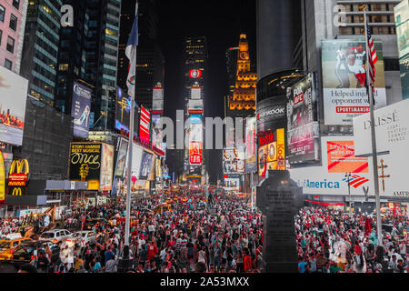 Shot of Times Square by night, july 2013, Manhattan, New York City, United States of America. Beautiful night photography of the billboards ! - Stock Photo