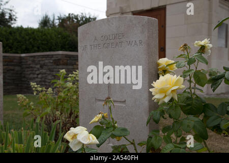 Frommells, France, August, 2019: Ration Farm Commonwealth War Graves. - Stock Photo