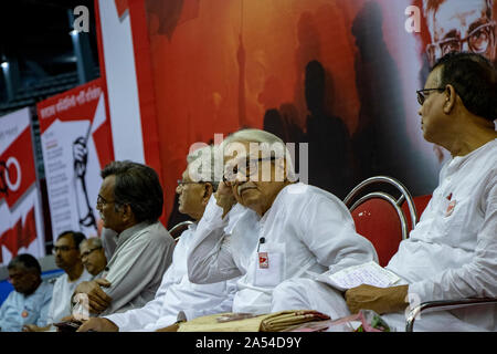 Kolkata, India. 17th Oct, 2019. Biman Bose, Chairman of the Left Front committee of West Bengal and Politburo member of CPIM at dais on occasion to mark the centenary of the formation of the Indian Communist Party (ICP) as an emigre unit in Tashkent by the Second World Congress of the Communist Third International in 1920, at Netaji Indoor Stadium, KOLKATA (Photo by Amlan Biswas/Pacific Press) Credit: Pacific Press Agency/Alamy Live News - Stock Photo