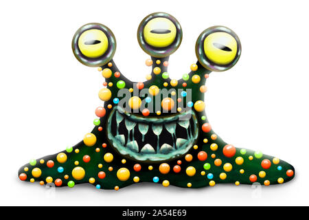 Funny and scary monster bacterium, cartoon children's toy hero for Halloween, isolated on white background. Toothy, slobbering, many eyed characters. - Stock Photo