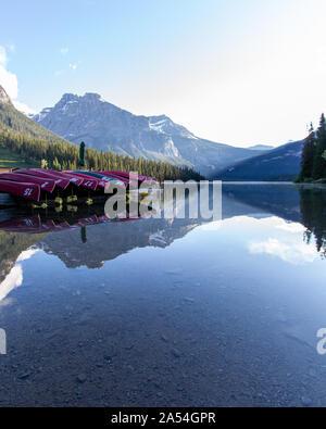 Canoe Lodge at Sunrise by Emerald Lake in Yoho National Park - Stock Photo