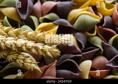 Colorful Italian pasta, red, violet, white and yellow - Stock Photo